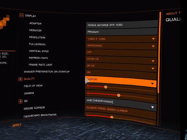 oculus rift elite dangerous display settings