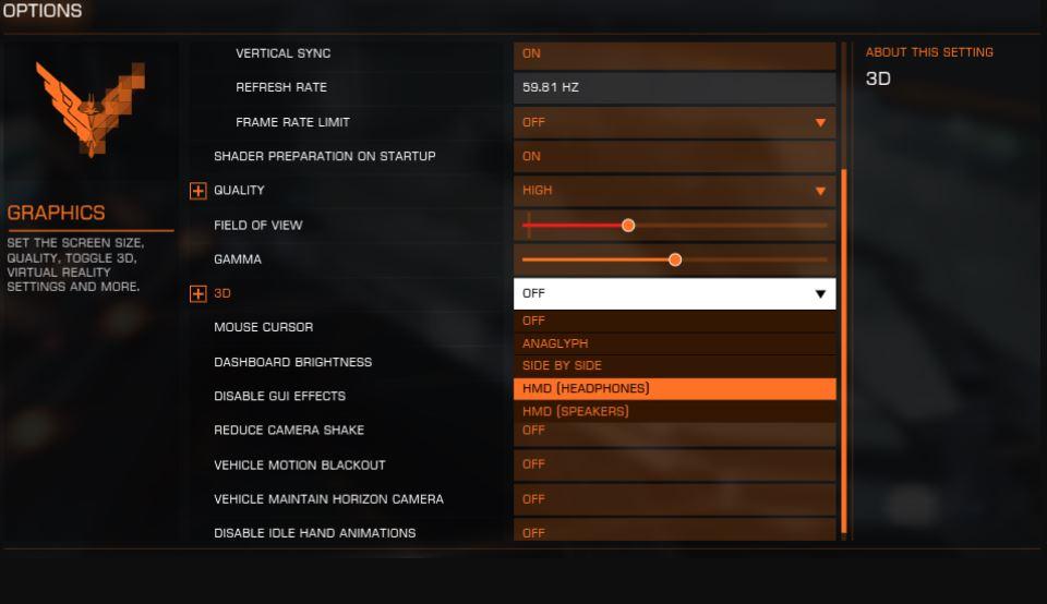 oculus rift elite dangerous settings to turn on vr mode