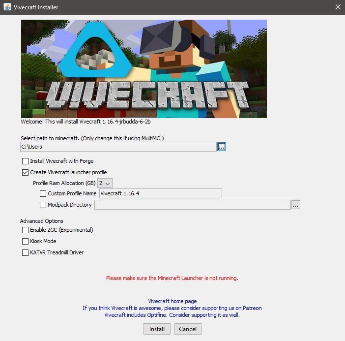 vivecraft installer