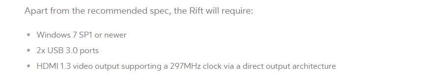 Požiadavky Oculus Rift
