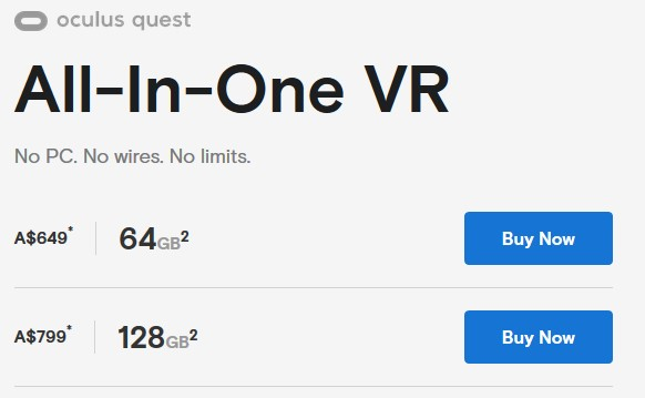 oculus quest release date price and versions australia