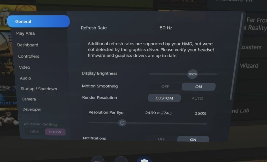 Valve Index review - refresh rate options screen
