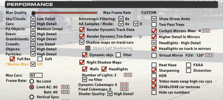 in game options for performance for iracing with oculus rift