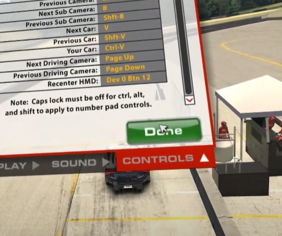 recenter HMD button with iRacing