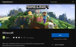 setup guide to play minecraft with oculus rift S - go to oculus store