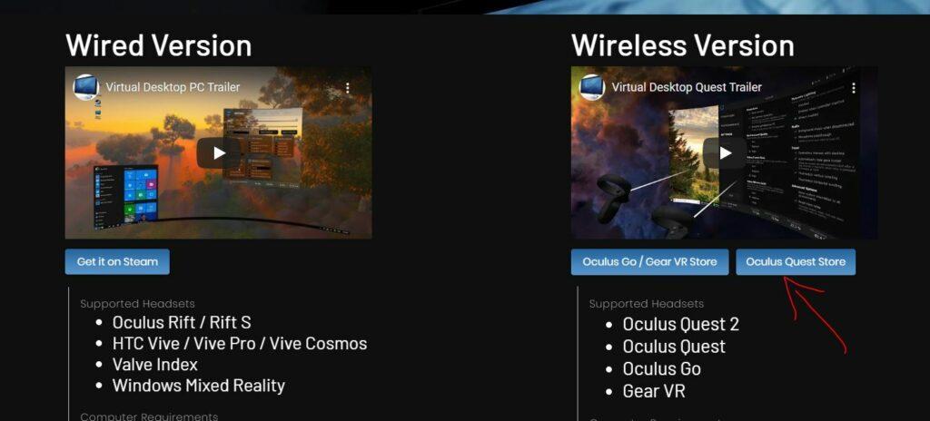 wireless Virtual desktop version on oculus store