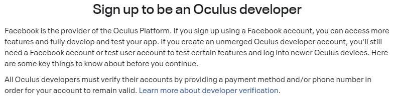 sign up as oculus developer